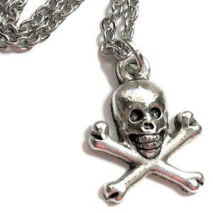 Skull & Crossbones Necklace Tibetan Silver 4for$20